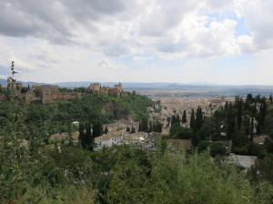 A view of Granada (with the Alhambra on the hill on the left) from Albaicin.