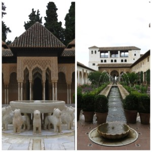 A couple of the many fountains around the Alhambra.