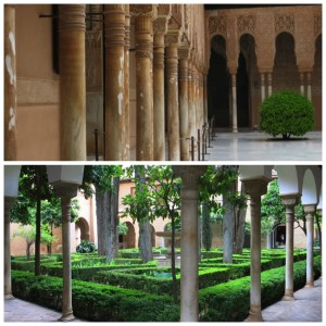 Inside a couple of the courtyards at the Alhambra.