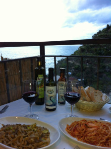 Dinner at Trattoria Dal Billy (incredible fresh pasta and seafood, great view - don't miss it!). Not pictured: 70-year-old man directly to right.