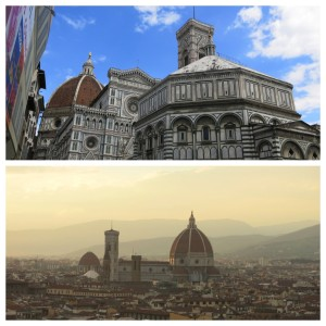 The Duomo from up close (top) and dominating the skyline at sunset (bottom).