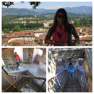 Views from the climb and the top of Torre Guinigi