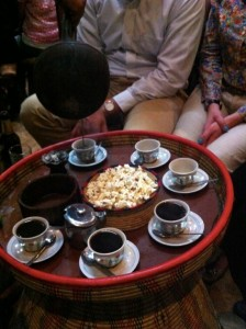 Ending our final dinner in Ethiopia the right way with coffee.