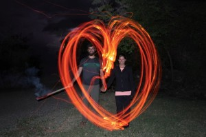 Playing with fire (and Chris's camera exposure).... and my wife.
