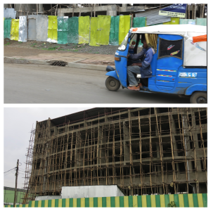 Passing a tuk-tuk on the highway (top) and a building construction site with bamboo for scaffolding (bottom).