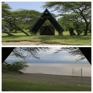 Our tent -- view from the beach (top) and view of the beach (bottom).