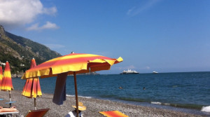 Soaking up some rays on Positano's main beach.