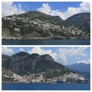 Views of Praiano (top) and Amalfi (bottom) from the ferry.