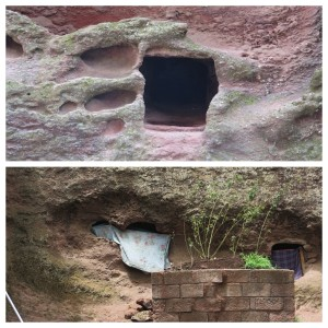 A hole once used as a tomb in the walls beside the church (top), pilgrims taking residence in the former tombs for prayer and meditation...no thanks (bottom)
