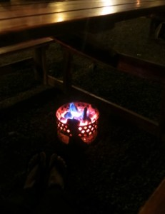 "But I totally took a night-vision pic of the hot coals. After moving past the risk ""open flames"" under the table posed, we appreciated the warmth."