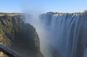 """The entire falls are simply a crack made in a hard basaltic rock from the right to the left bank of the Zambezi River."" - Livingstone"