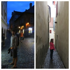 Exploring the streets of Cesky Krumlov.
