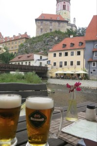 Sipping on more local brews in the shadows of the castle.