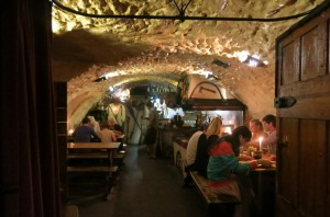 Entering a cave that doubles as a delicious Czech restaurant.