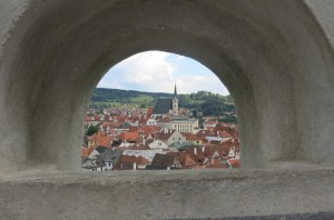 View through one of the castle's lookouts.
