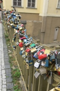 Lovers lock a padlock on this bridge as a sign of their forever commitment, tossing the key into the river.