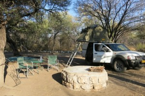Stayed at one of our better campsites the night before entering the park, regularly hearing lions roaring at night.