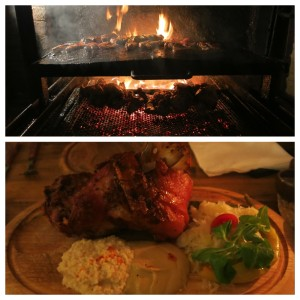Our pork knuckle being prepped over open flames about 5 feet from our table (top) and the finished product at our table (bottom).