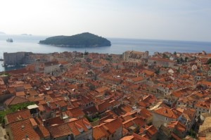 Full city view from the walls, Lokrum Island in the distance