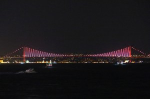 Bosphorus Bridge all lit up at night.