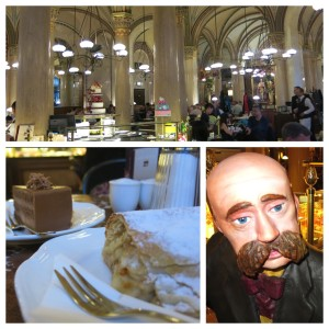 Cafe Central, complete with classy pillars, delicious kuchen and this friendly mustache-flaunting statue that greets you upon entering.