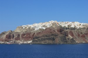 View of Santorini from the ferry