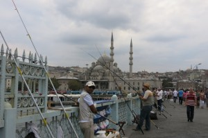Fishing on the Galata Bridge.