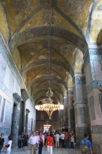 Marble-lined walls and fresco-covered ceilings inside the Hagia Sophia.