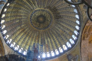 "The ""floating"" dome shining light from above in the Hagia Sophia."