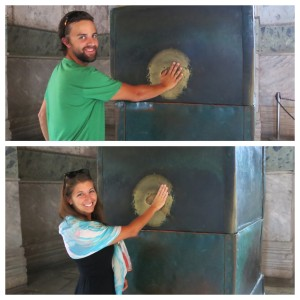 Rubbing the Sweating Column (or Wishing Column, depending on who you ask) for good luck. Rumor has it that hundreds of years ago this particular column had healing powers. So why not?