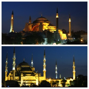 Hagia Sophia (top) and Blue Mosque (bottom) lit up in all their glory at night.