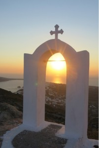 Our hard work was rewarded by catching sunset from a chapel overlooking the descent into Oia.