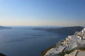 The 3 1/2 mile hike starts in Fira and curves through a few smaller towns before ending in Oia.