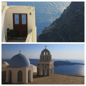 The starting stroll through Fira had us stumbling across beautiful homes and famous blue domed buildings.