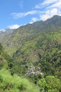 One of the many villages nestled between the mountains.
