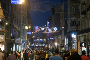 Istiklal Caddesi at night (EDITOR'S NOTE: With TWINKLY LIGHTS! YAY!)