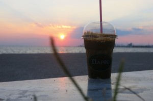 The sunset was much better than the frappe...