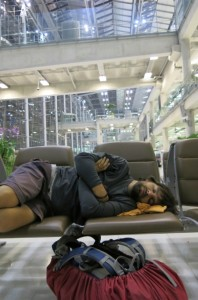 Catching a couple Z's before  our shuttle between Thailand airports.