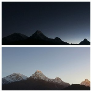 A shot of Annapurna 1 (left), Fishtail (far right) and two other peaks just before and just after sunrise.