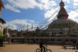 The enormous stupa that dominates the center of the Boudha neighborhood.