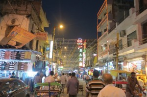 A typical street scene near our hostel at night.
