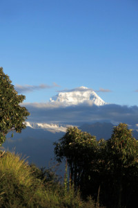 Dhaulagiri finally peaking out above some clouds that rolled in during our descent back down.