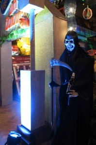 Ghastly ghoul in front of the popular happy hour spot, Khop Chai Deu.