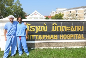 Ryan and Dave in front of Laos's Mittaphab Hospital.