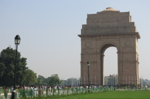We started at India Gate. This 42 meter high Arc-de-Triomphe-esque structure was built to commemorate the lives of the 70,000 Indian soldiers that died fighting for the British Army during World War I. The names of all the soldiers are etched into the structure, and it also sports an eternal flame.
