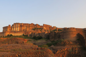 Mehrangarh fort before sunset.