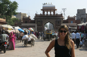 Noelle with the entrance to the market in the background.