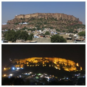 Mehrangarh Fort by day and by night.