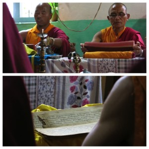 Using traditional prayer books in Bagarchap.