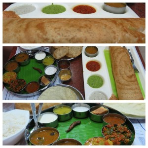 An amazing spread of vegetarian dishes at the famed and always-crowded Saravana Bhavan.